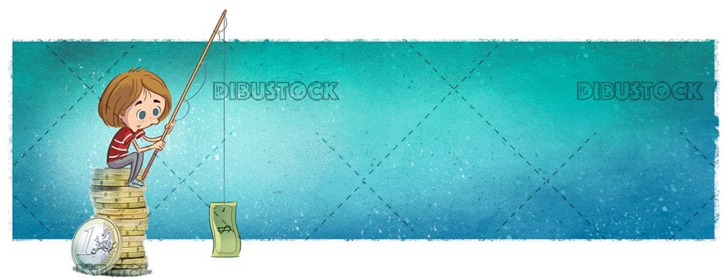 Child fishing money texture background 1