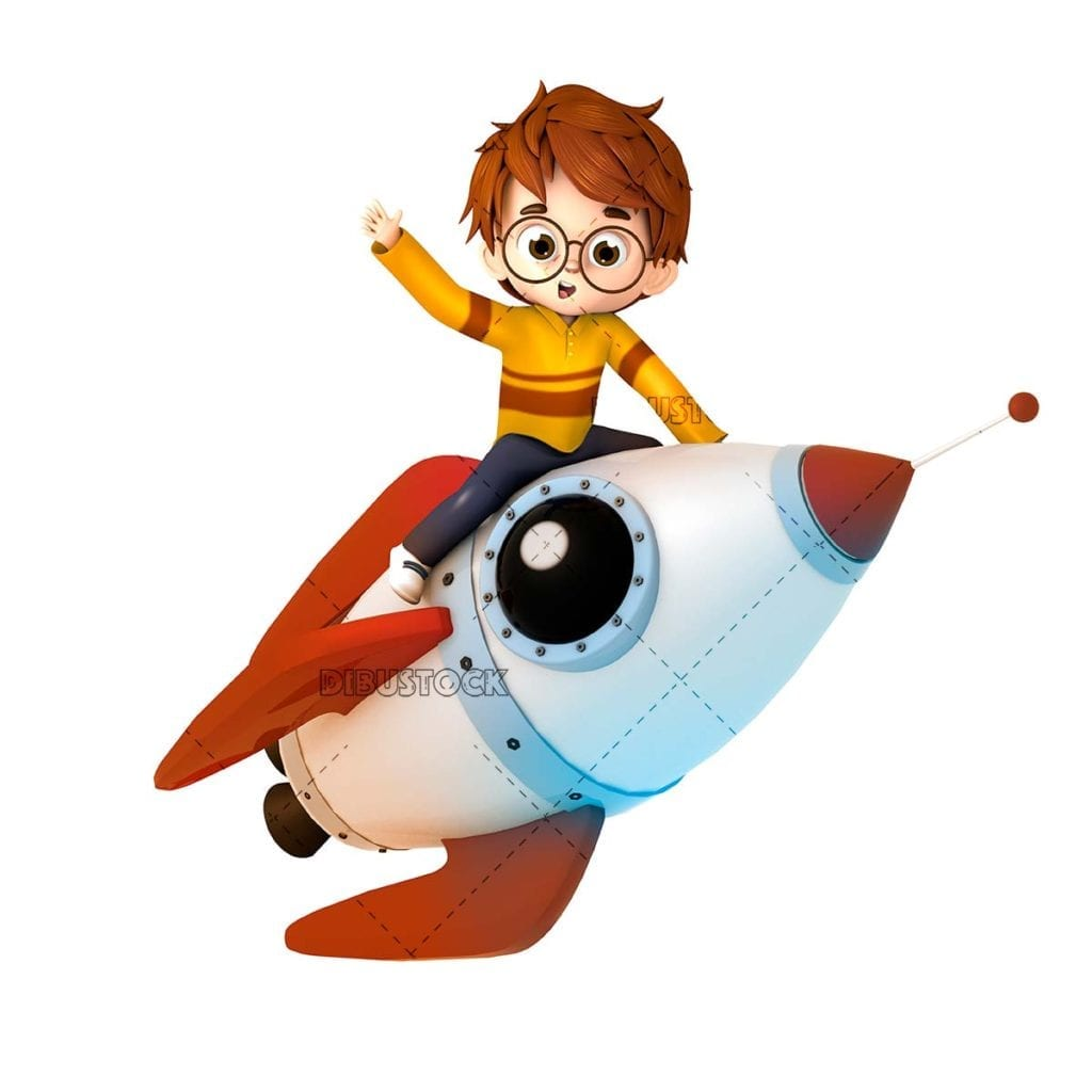 Child on a rocket towards success