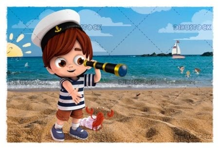 Child on the beach with a spyglass