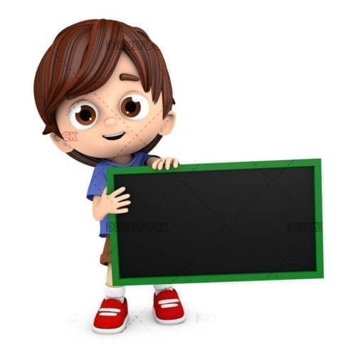 Child with a blackboard or poster