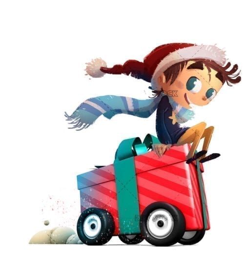 Child with gift of wheels at Christmas