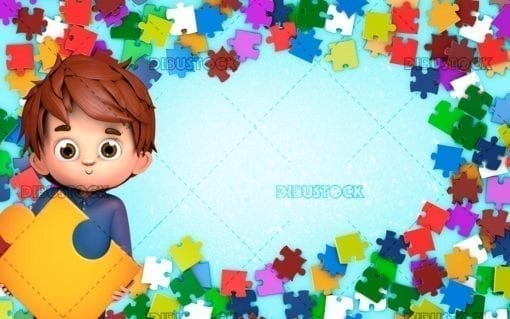 Child with puzzle frame