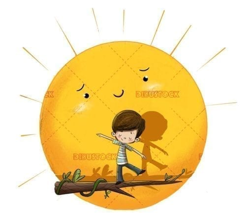 Child with sun in the background doing balance