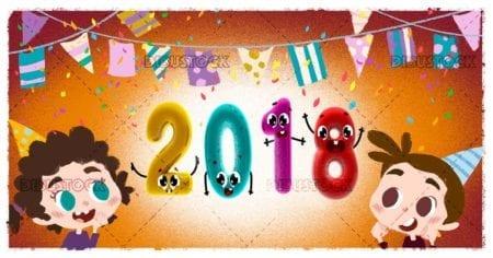 Children celebrating the new year