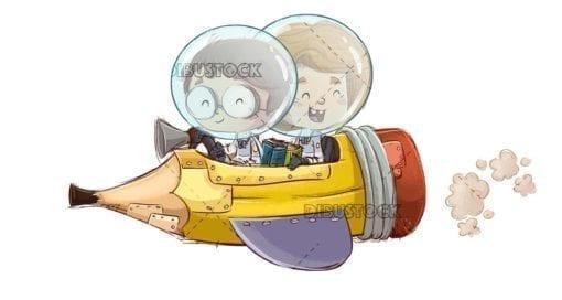 Children in pencil spaceship