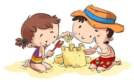 Children playing on the beach. Sandcastle