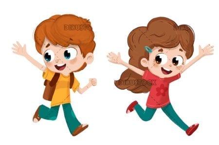 Children running and playing happy
