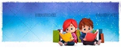 Children sitting reading books