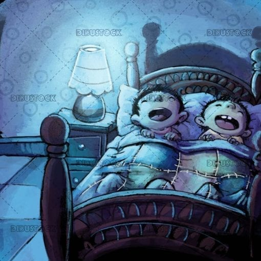 Children sleeping in a bed. Brothers sleeping