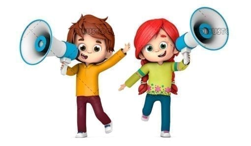 Children talking with a megaphone