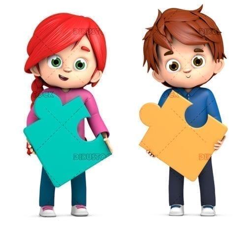 Children with puzzle pieces