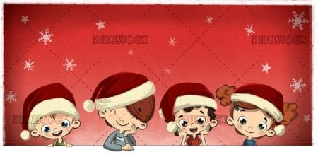Christmas children with Christmas background