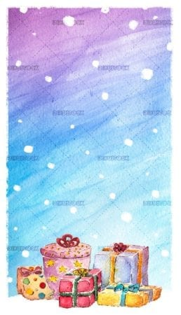 Christmas gifts in watercolor