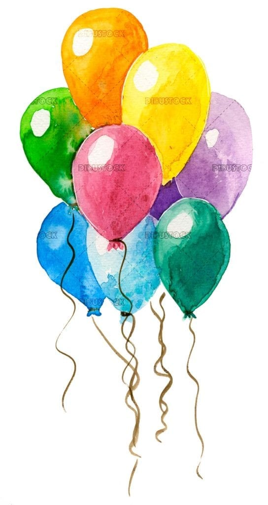 Colorful balloons in watercolor