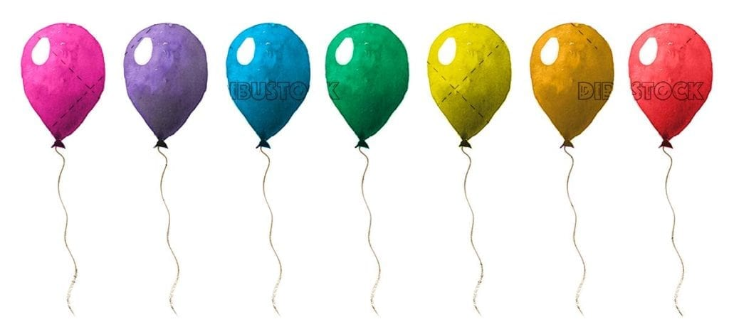 Colorful balloons in watercolor white background