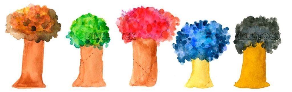 Colorful trees in watercolor