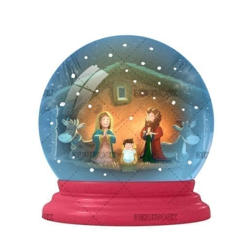 Crystal ball with snowing Nativity Portal