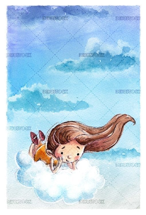 Girl flying with cloud