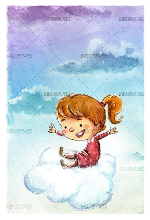Girl flying with cloud in the sky