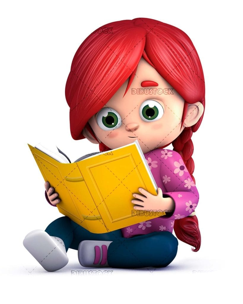 Girl reading a book sitting on the floor