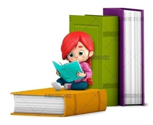 Girl reading giant books