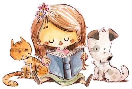 Girl reading with dog and cat white background