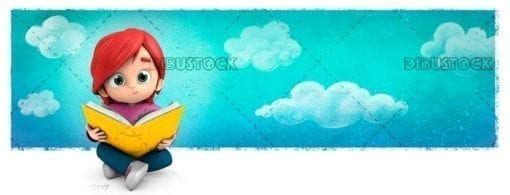 Girl sitting reading a book