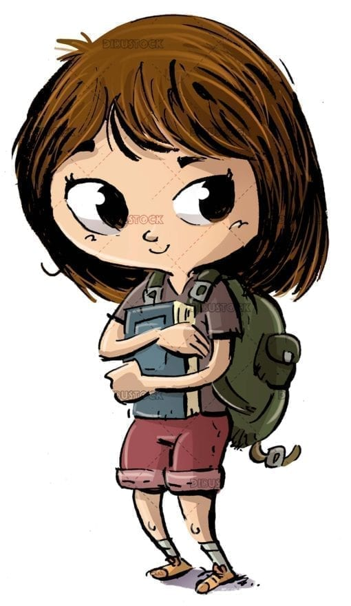 Girl with book and backpack