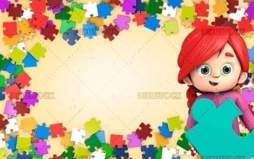 Girl with puzzle frame