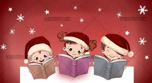 Group of children at Christmas with books