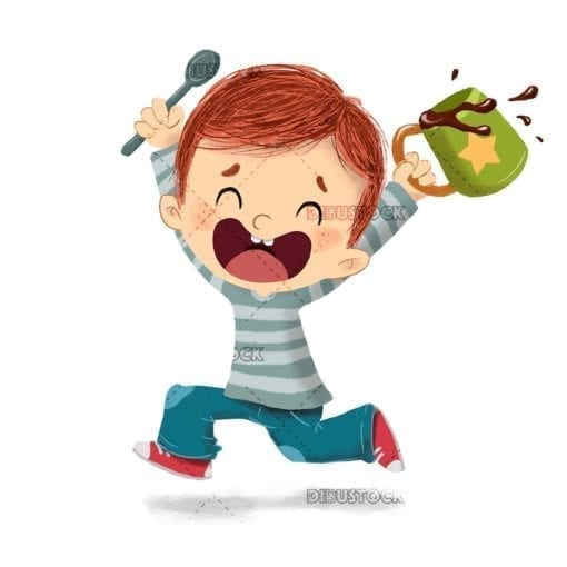 Happy eating boy