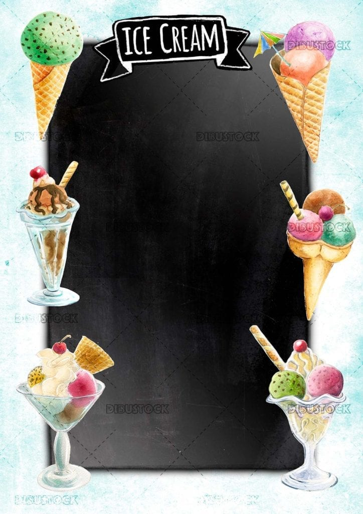 Ice cream poster with chalkboard background