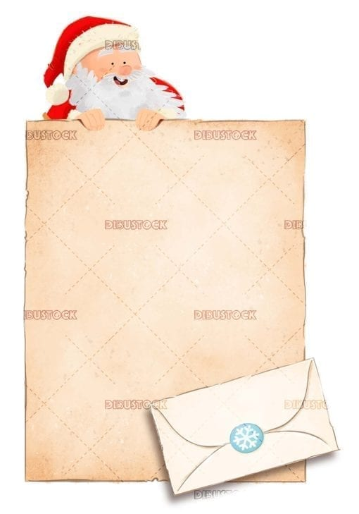 Letter and envelope to Santa Claus at Christmas