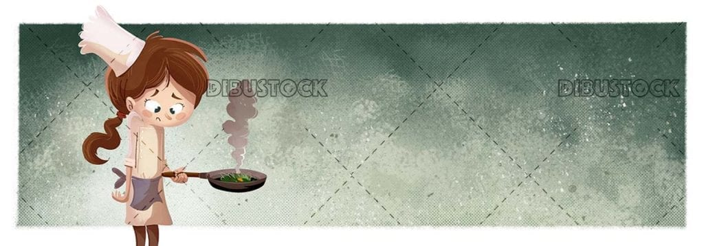 Little girl cooking with burnt food