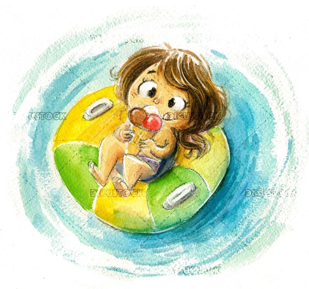 Little girl eating ice cream in the water