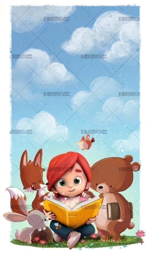 Little girl in the field with animals