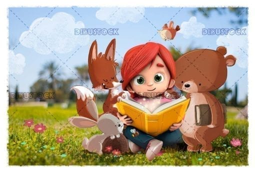 Little girl in the forest in a book surrounded by animals