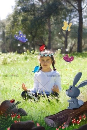 Little girl in the forest meditating with animals