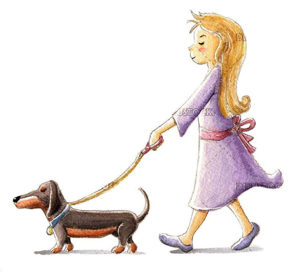 Little girl walking a dachshund