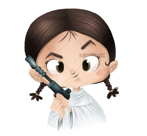 Little girl with toy gun