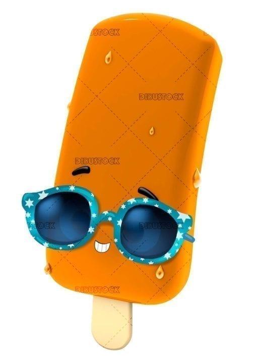 Orange ice cream with sunglasses