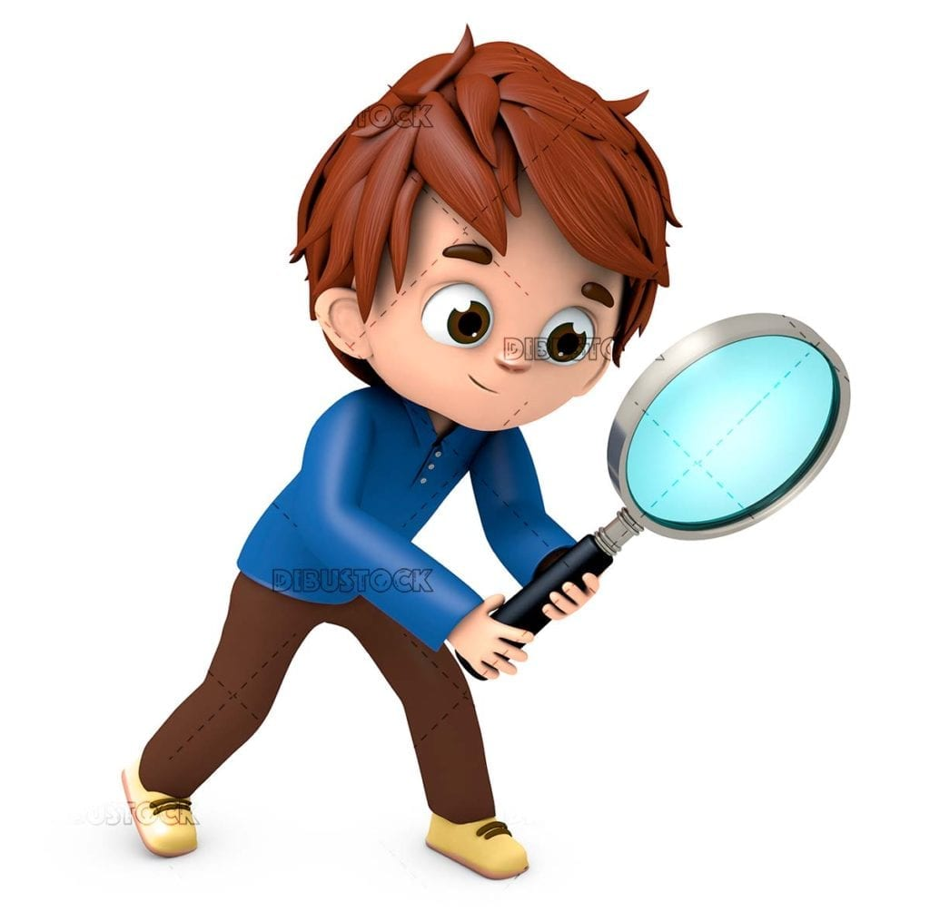 Person with a magnifying glass behind the track