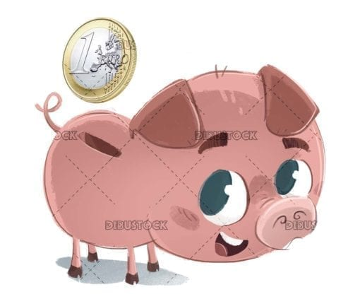Pig piggy bank with money white background