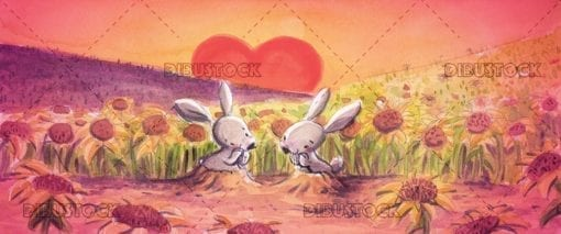 Rabbits in love in a field of sunflowers