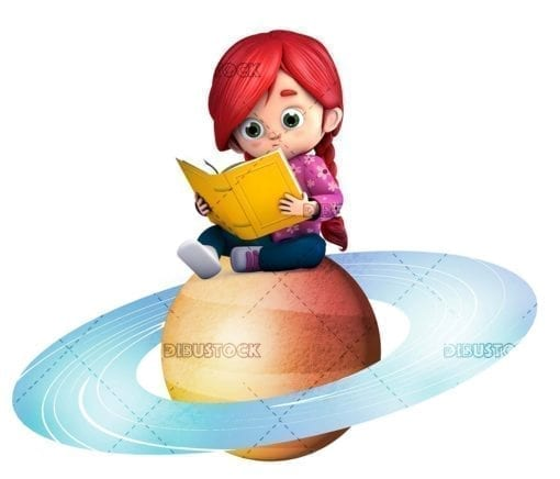 Reading a book sitting on a planet