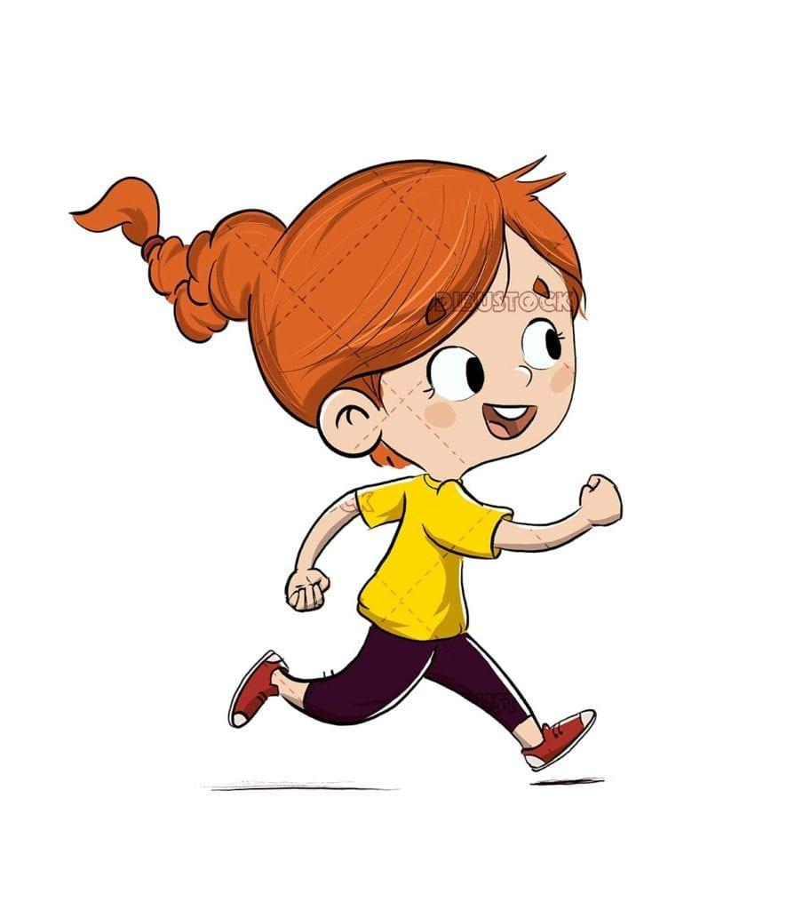 Running girl exercising