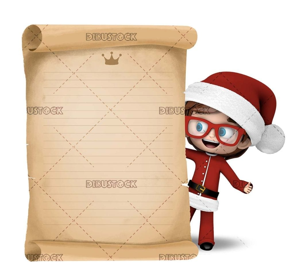 Santa Claus boy with gifts letter