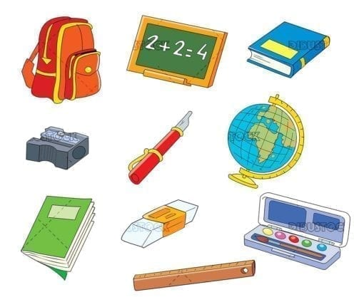 School objects school supplies