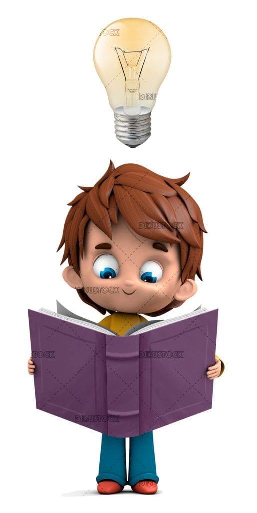 Smart boy with light bulb