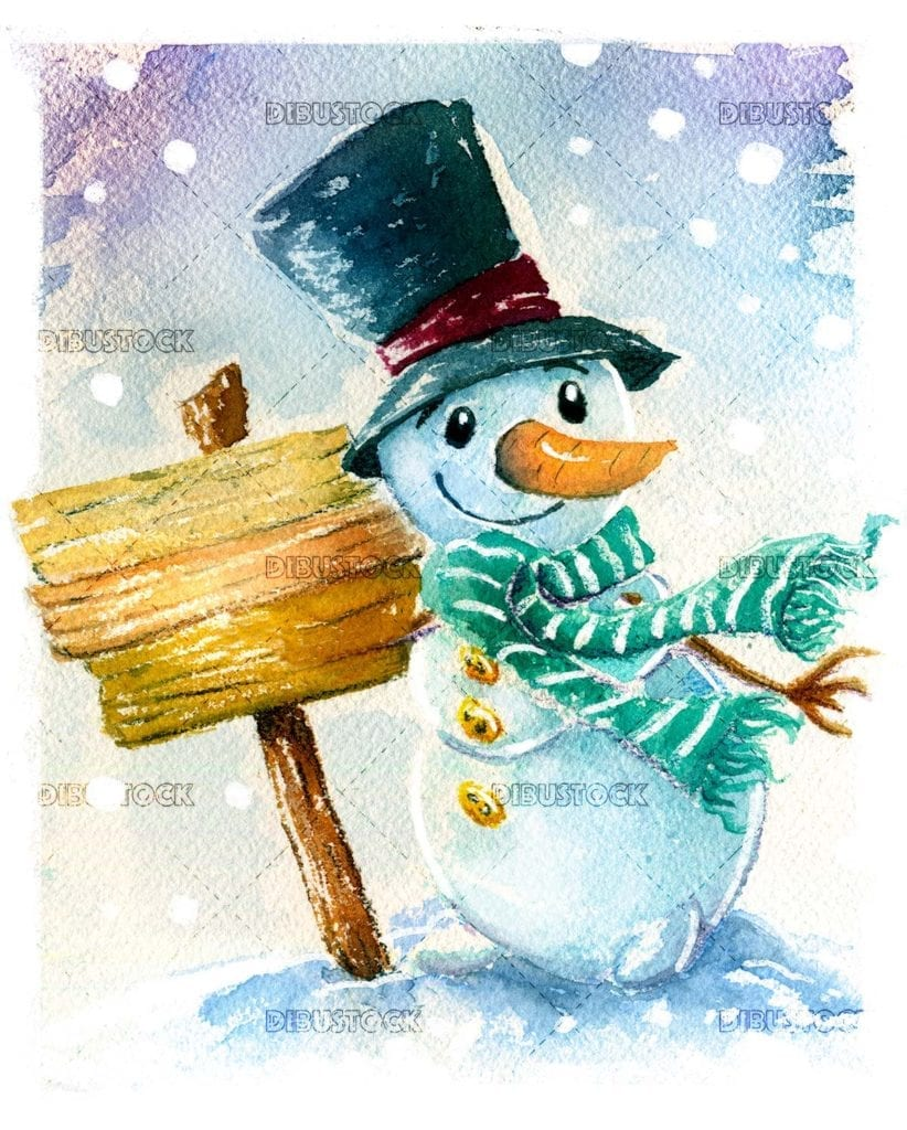 Snowman with sign watercolor